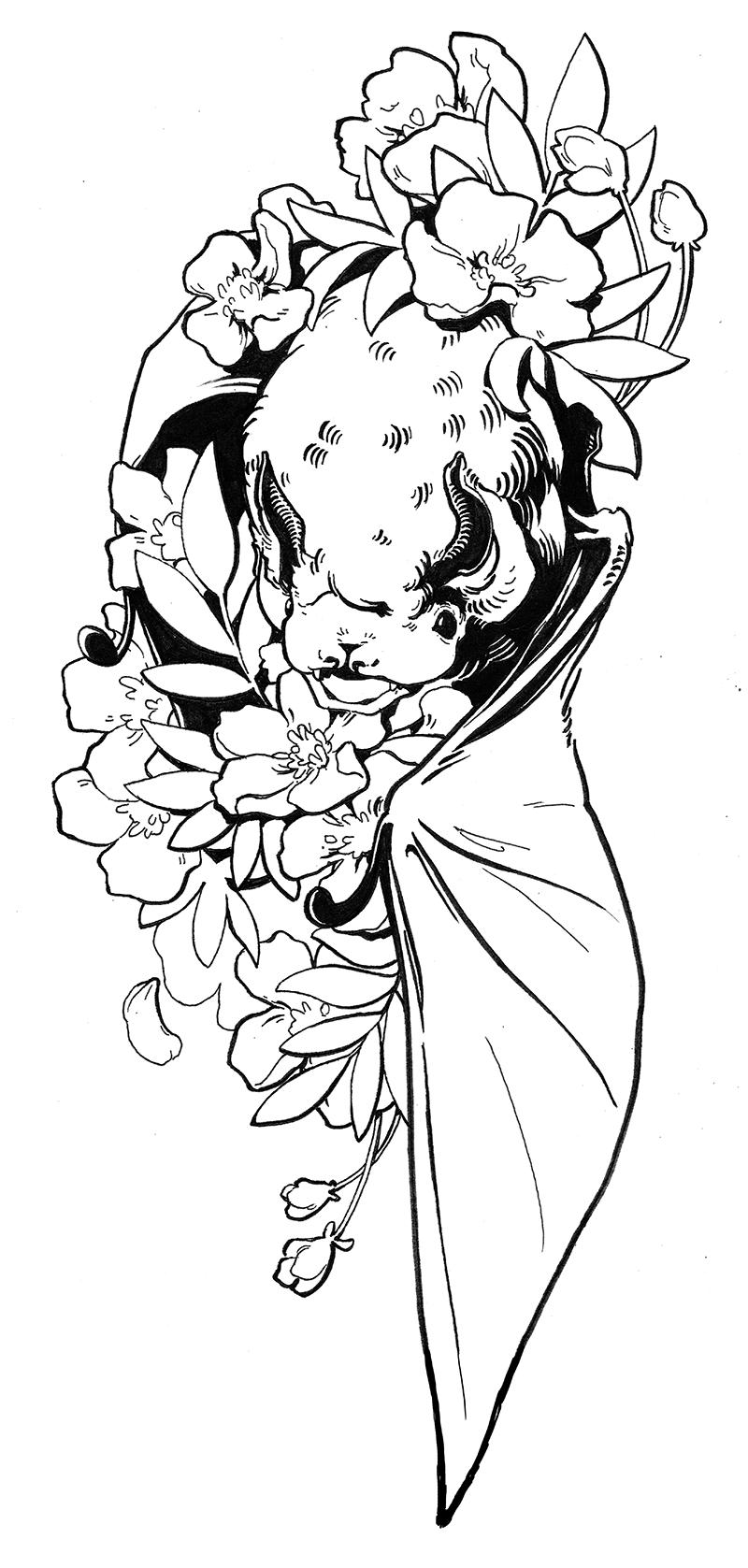 Hoary Bat & Swamp Rose
