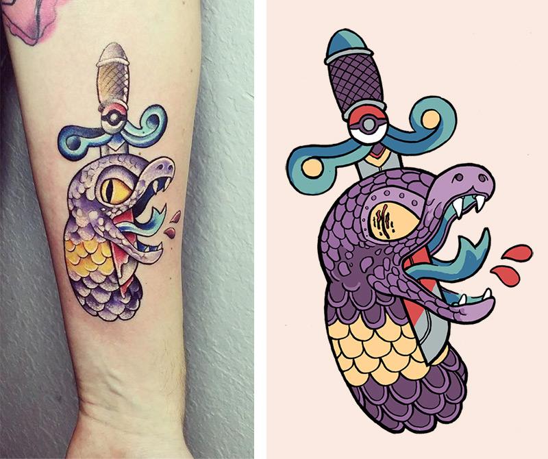 Stabbed Ekans Tattoo